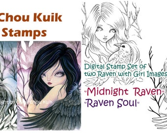 Digital Stamp Set of 2 Raven with Girl Images - Instant Download / Raven Crow Woods Forest Fantasy Gothic Fairy Art by Ching-Chou Kuik