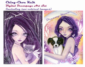 Pre-Colored - Kitten and Puppy Set 1 - Instant Download Hand Painted Digital Decoupage Art / Fantasy Cat Dog Fairy Girl by Ching-Chou Kuik