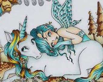 Winterse nacht - Instant Download / kerst Winterberry dierlijke Unicorn paard Fantasy Angel Fairy meisje kunst door Ching-Chou Kuik