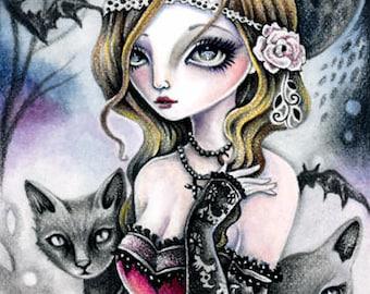Dark Moon - Digital Stamp Instant Download / Gothic Cat Kitten Rose Bat Victoria Fairy Fantasy Line Art by Ching-Chou Kuik