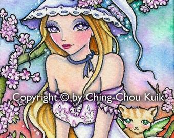Spring Witch - Instant Download / Witch Sakura Flower Animal Cat Kitten Fantasy Fairy Girl Art by Ching-Chou Kuik