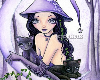 Misty Reflections - Instant Download / Witch Woods Crescent Moon Animal Cat Kitten Fantasy Fairy Girl Art by Ching-Chou Kuik