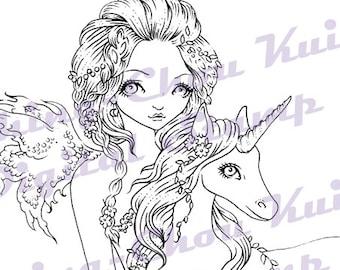 Eenhoorn Love - Instant Download / magische dier paard Fantasy Fairy Faery meisje kunst door Ching-Chou Kuik