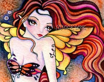 Radiant Soul - Digital Stamp Instant Download / Fantasy Butterfly Moth Fairy Mermaid Girl Art by Ching-Chou Kuik