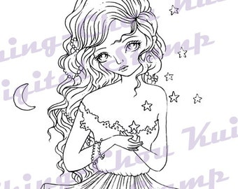 Star Wish - Digital Stamps Instant Download / Cresent Moon Star Wishing Fantasy Fairy Girl Art by Ching-Chou Kuik