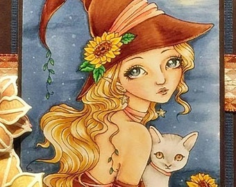 Sunflower Night - Autumn Flower Wicked Witch Cat Kitty Kitten Fantasy Fairy Girl Art by Ching-Chou Kuik