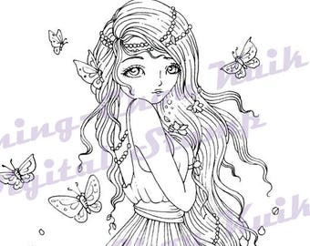 Butterflies - Instant Download Digital Stamp / Peony Flower Flora Butterfly Coloring Fairy Girl by Ching-Chou Kuik