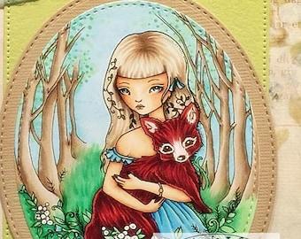 Zoete weinig rood - Instant Download digitale stempel / Woods bloem Forest dierlijke Fox Fantasy Fairy meisje door Ching-Chou Kuik