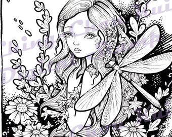 Autumn Dragonflies - PRINTABLE Digital Stamp Instant Download / Dragonfly Fairy Lady Girl Fantasy Line Art by Ching-Chou Kuik
