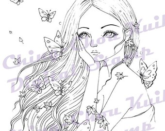 Intro Price- So Long - Digital Stamp Instant Download / Fall Leaves Butterfly Fairy Lady Girl Fantasy Line Art by Ching-Chou Kuik