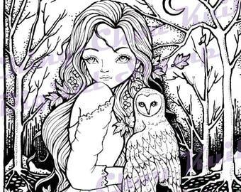 Under The Moonlight - PRINTABLE Digital Stamp Instant Download / Barn Owl Moon Lady Girl Fantasy Line Art by Ching-Chou Kuik