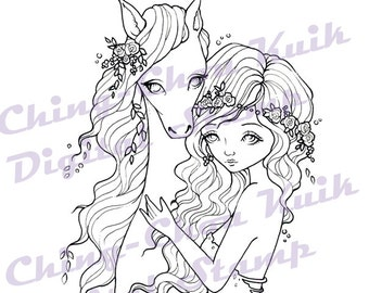 Sweet Companion - Instant Download Digital Stamp / Aminal Horse Rose Flower Line Art Fantasy Fairy Girl by Ching-Chou Kuik