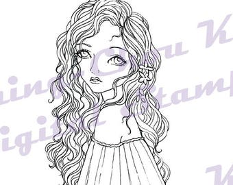 Spring Wanderer - Instant Download Digital Stamp / Flower Coloring Art Fairy Modern Curly Girl by Ching-Chou Kuik