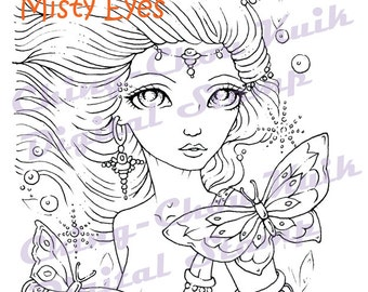 Misty Eyes - Digital Stamp Instant Download / Mermaid Butterfly Fantasy Fairy Girl Art by Ching-Chou Kuik