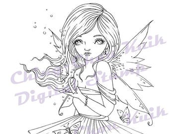 Believe in Faith - Digital Stamp Instant Download /Breast Cancer Awareness Ribbon Girl Fairy Fantasy Art by Ching-Chou Kuik