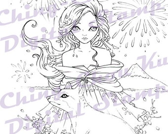 Mount Fuji - Instant Download Digital Stamp / New Year Animal Fox Sakura Fireworks Kimono fairy Girl by Ching-Chou Kuik
