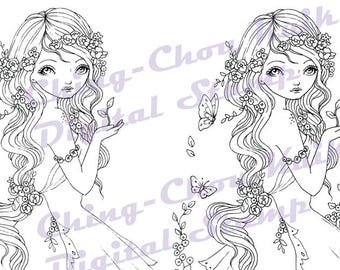 Little Sprout - Digital Stamp PRINTABLE Coloring Page Instant Download / Butterfly Fairy Fantasy Line Art by Ching-Chou Kuik