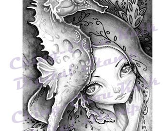 Seahorse Illusion -Grayscale Digital Stamp  - PRINTABLE Instant Download / Fantasy Line Art by Ching-Chou Kuik