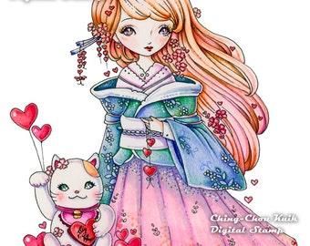 Maneki-neko - Instant Download digitale Stmap liefde / Valentijn Fortune Lucky Cat Japanse Kimono Dollie meisje door Ching-Chou Kuik