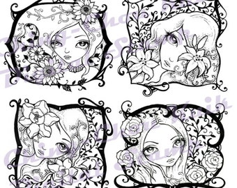 Digital Stamp Set of 4 Girl with Flower Images - Instant Download / Rose Lily Sunflower Magnolia Pattern Line Art by Ching-Chou Kuik