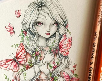 Butterflies and Berries - PRINTABLE Digital Stamp Instant Download / Winter Berry Girl Fantasy Line Art by Ching-Chou Kuik