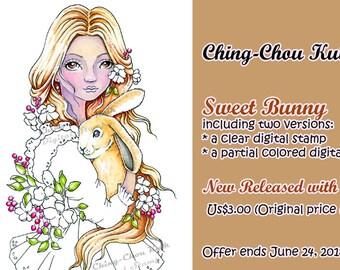 Intro prijs - Sweet Bunny - digitale stempel afdrukbare kleuren pagina Instant Download / konijn bloemenmeisje Lady Line Art door Ching-Chou Kuik