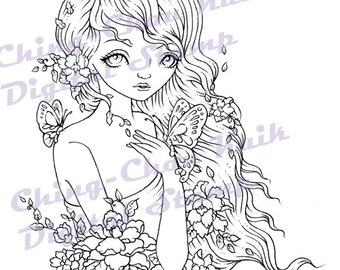 Autumn Whisper - Instant Download / Fall Flower Butterfly Moth Fantasy Fairy Girl Art by Ching-Chou Kuik