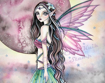 Misty Moon -Grayscale Digital Stamp  - PRINTABLE Instant Download / Fairy Faery Girl Fantasy Art by Ching-Chou Kuik