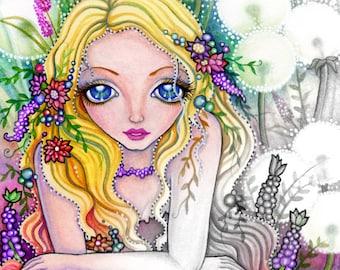 Dandelion Fairy Kingdom -Grayscale Digital Stamp  - PRINTABLE Instant Download / Flower Girl Fantasy Art by Ching-Chou Kuik