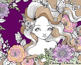 Twilight Garden - Digital Stamp PRINTABLE Instant Download / Butterfly Flora Flower Fairy Fantasy Line Art by Ching-Chou Kuik