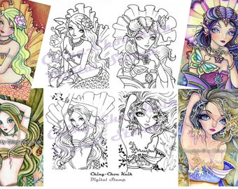 Digital Stamp Mermaid Set of 4 Images - Instant Download / Sea Turtle Butterfly Coral Flower Rose Jewel Fairy Girl by Ching-Chou Kuik