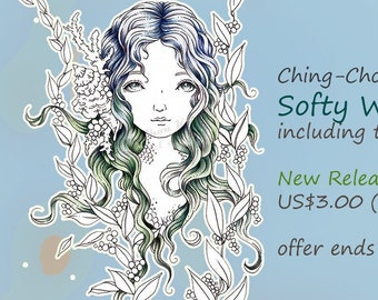 Reduced Price-Softy Wave- Coloring Page PRINTABLE Instant Download Digital Stamp/Fantasy Mermaid Sea Ocean Coral Art by Ching-Chou Kuik