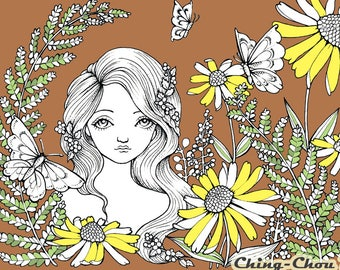SummerGarden - Digital Stamp PRINTABLE Instant Download / Butterfly Flora Flower Fairy Fantasy Line Art by Ching-Chou Kuik
