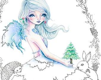 A Christmas Tree - Digital Stamp PRINTABLE Instant Download / Wreath hedgehog bunny  Fairy Fantasy Line Art by Ching-Chou Kuik