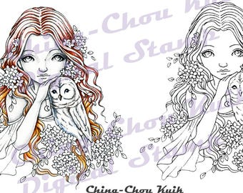 Owlie - Digital Stamp PRINTABLE Coloring Page Instant Download / Owl Hydrangea Flower Girl Fantasy Line Art by Ching-Chou Kuik
