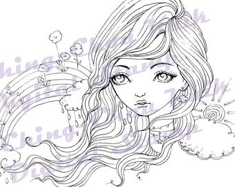 Rainbow After Rain - Instant Download Digital Stamp / Flower Cloud Sky Coloring Line Art Fairy Girl by Ching-Chou Kuik