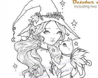 October Stars- Coloring Page PRINTABLE Instant Download Digital Stamp/Fantasy Witch Halloween Cat Girl Art by Ching-Chou Kuik