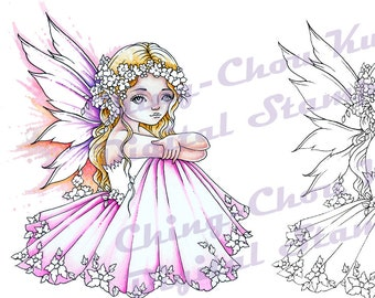 Spring Flower  - PRINTABLE Instant Download Digital Stamp / Botanical Flora Fairy Girl Fantasy Art by Ching-Chou Kuik