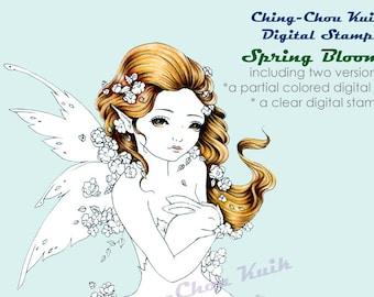Spring Blooms- Coloring Page PRINTABLE Instant Download Digital Stamp/Flower Rabbit Bunny Animal Girl Art by Ching-Chou Kuik