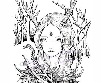 Deer in Woods- Coloring Page PRINTABLE Instant Download Digital Stamp/Fantasy Forest Animal Girl Art by Ching-Chou Kuik
