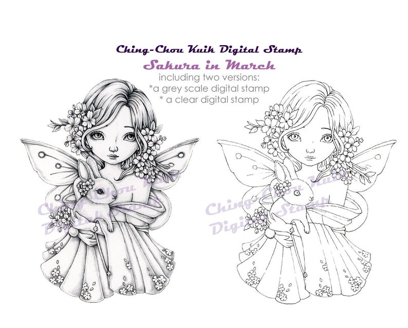 Sakura in March  Coloring Page PRINTABLE Instant image 1