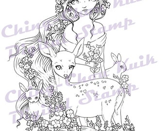 Spring Delight - Digital Stamp Instant Download / Forest Animal Deer Rabbit Bunny Flower Fantasy Fairy Girl by Ching-Chou Kuik