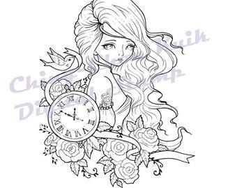 Time Flies - Instant Download / Tattoo Watch Clock Bird Dove Rose Ribbon Fantasy Fairy Girl Art by Ching-Chou Kuik