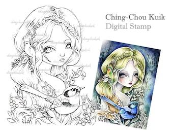 Fairy Wren - Digital Stamp Instant Download / Art by Ching-Chou Kuik