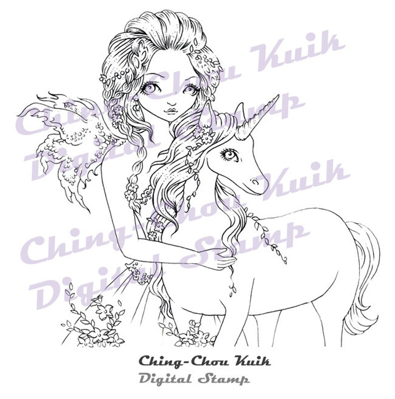 Unicorn Love  Instant Download / Magical Animal Horse Fantasy image 0
