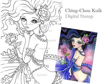 Scarlet Lips - Digital Stamp Instant Download / Fantasy Art by Ching-Chou Kuik
