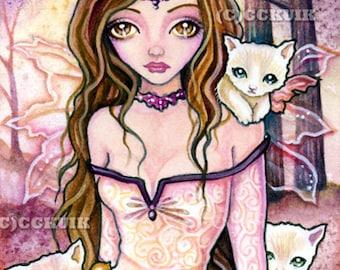 Breaking Dawn - Digital Stamp Instant Download / Fantasy Girl Fairy Cat Kitten Kitty Art by Ching-Chou Kuik