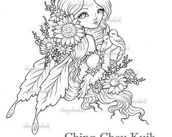 Love in Spring - Digital Stamp Instant Download / Fantasy Fairy Faery Girl Flower Bird Art by Ching-Chou Kuik