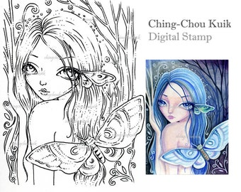 Enter The Woods - Digital Stamp Instant Download / Dryad Moth Fantasy Art by Ching-Chou Kuik