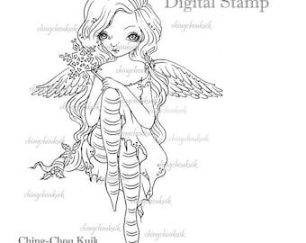 Snowflake Angel - Digital Stamp Instant Download / Christmas Fantasy Fairy Art by Ching-Chou Kuik